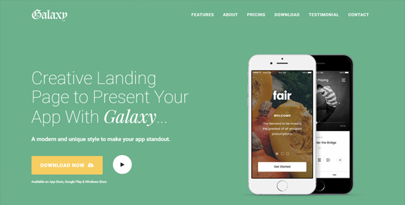Galaxy - Responsive Bootstrap App Landing Page Template - Landing Pages Marketing
