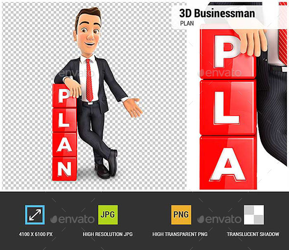 3D Businessman Plan - Characters 3D Renders