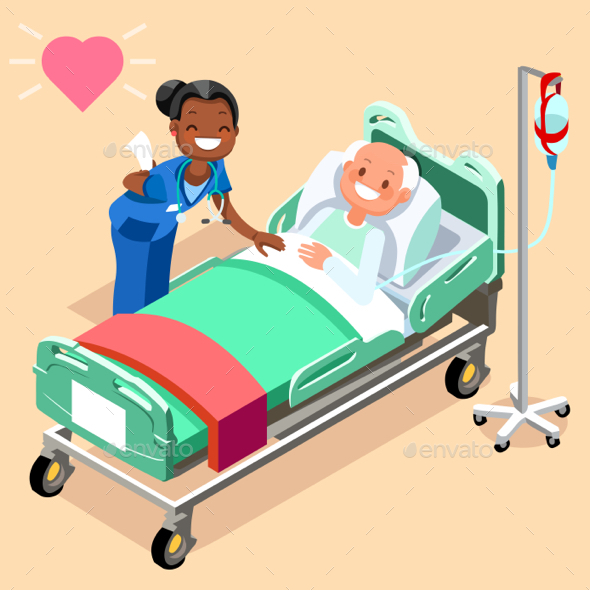 Black Nurse or Family Doctor at Male Patient Bed Vector - Vectors