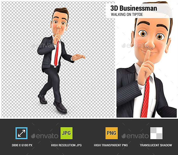 3D Businessman Walking on Tiptoe - Characters 3D Renders