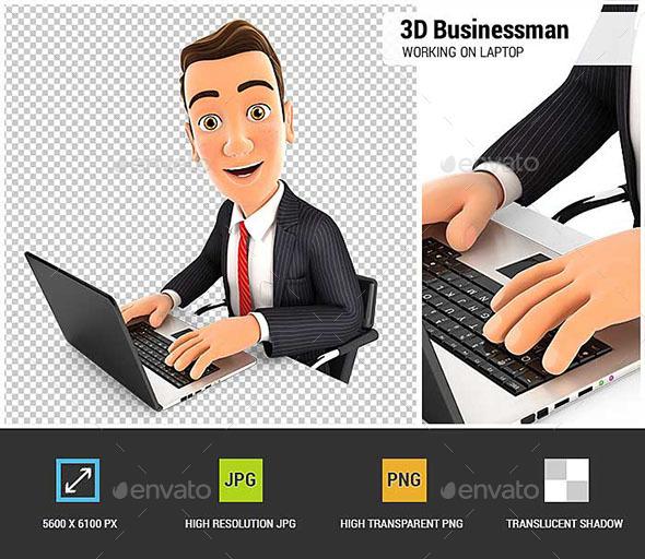 3D Businessman Works on Laptop - Characters 3D Renders