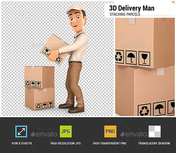 GraphicRiver 3D Delivery Man Stacking Parcels 20567428
