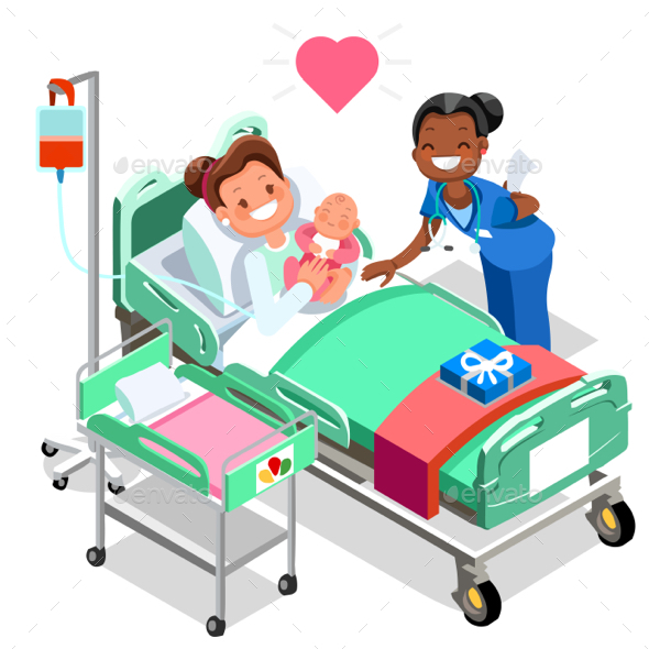 Nurse with Baby Doctor or Nurse Patient Isometric People Cartoon - Vectors