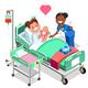 Nurse with Baby Doctor or Nurse Patient Isometric People Cartoon
