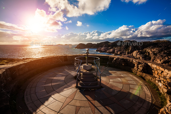 Lookout Lindesnes Fyr Lighthouse, Beautiful Nature Norway - Stock Photo - Images
