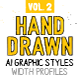 AI Hand drawn Styles & Brushes vol.2