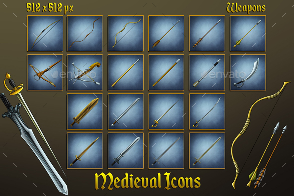 Middle Ages Icons: Swords, Bows, Arrows and Bolts - Miscellaneous Game Assets