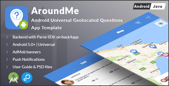 CodeCanyon AroundMe Android Universal Geolocation Questions App Template 20568064
