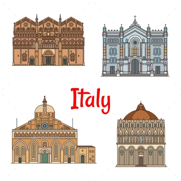 GraphicRiver Italian Travel Landmark Thin Line Icon Set Design 20568422