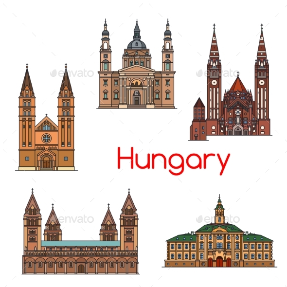 GraphicRiver Tourist Sight of Hungary Thin Line Icon Set 20568435