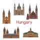 Tourist Sight of Hungary Thin Line Icon Set