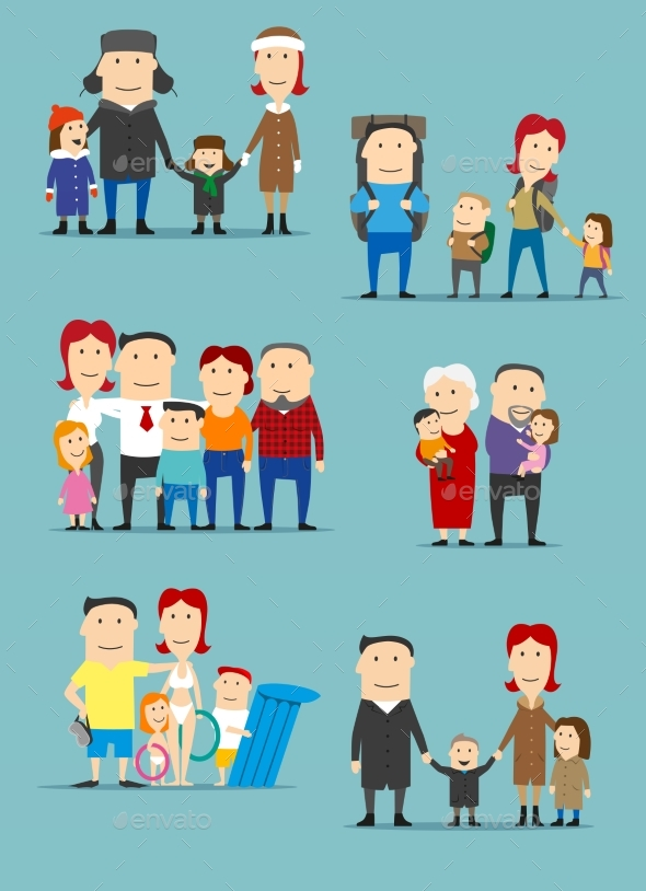 GraphicRiver Family Activities Cartoon Characters Set 20568455