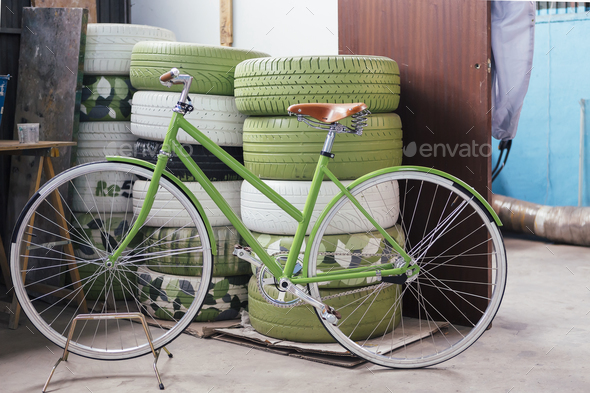 New beautiful green bicycle - Stock Photo - Images