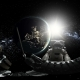 Astronaut and International Space Station Orbiting Earth in Virtual Reality