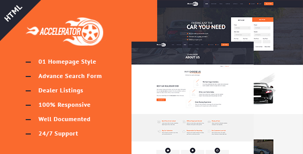 Accelerator Cars Listings Responsive Cars Dealers HTML Template - Business Corporate
