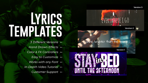 Lyrics templates 3 versions by royalpixels videohive for After effects lyric video template