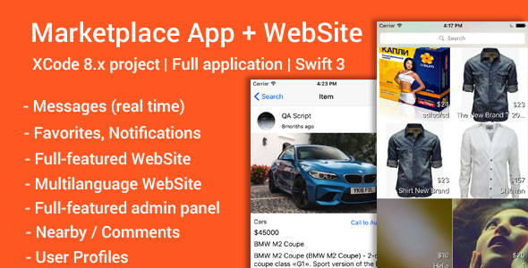Marketplace (iOS App and Website) - Swift 3 - CodeCanyon Item for Sale