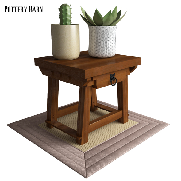 Pottery Barn Monroe Side Table - 3DOcean Item for Sale