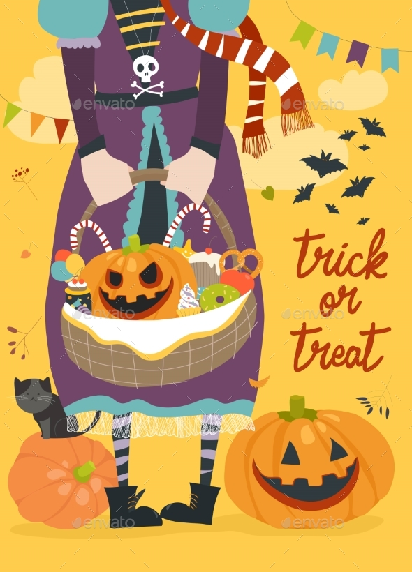 Girl Holding Basket with Pumpkin and Sweets - Halloween Seasons/Holidays