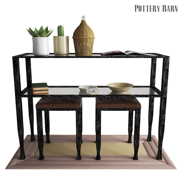 Pottery Barn Tanner Console Table - Bronze Finish - 3DOcean Item for Sale