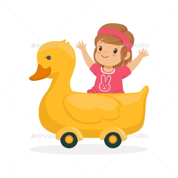 Girl Riding on Yellow Duck - People Characters