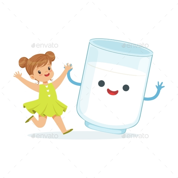 Girl and Milk Glass Smiling - Food Objects