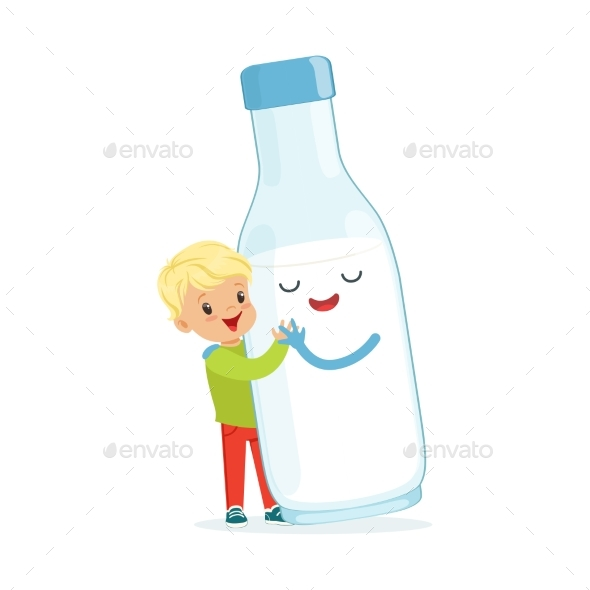 GraphicRiver Blonde Little Boy and Milk Bottle 20569648