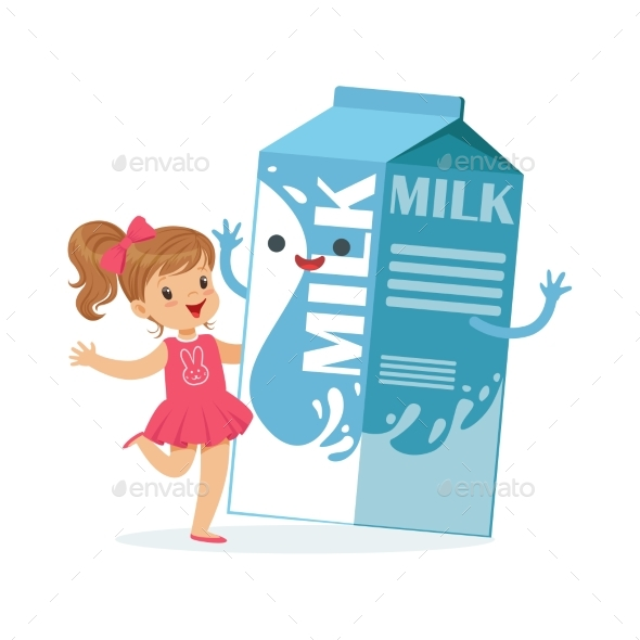 Girl and Milk Carton Box - Food Objects