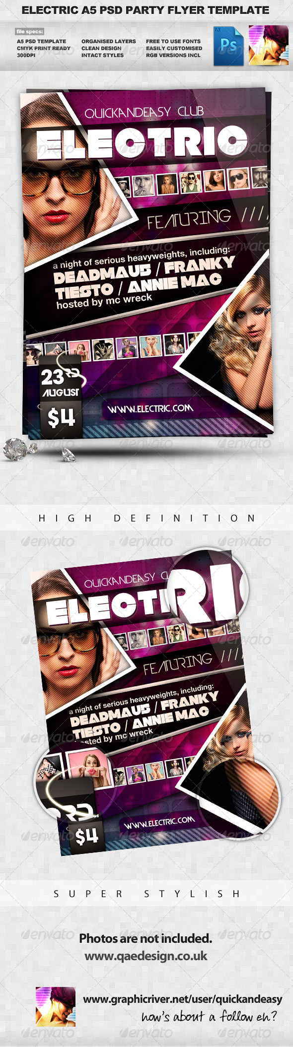 Electric Night Club Dance A5 Flyer - Clubs & Parties Events