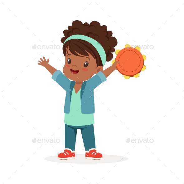 Girl Playing Tambourine - People Characters