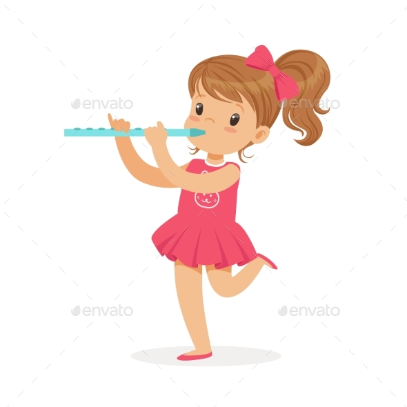 Girl Playing Flute - People Characters