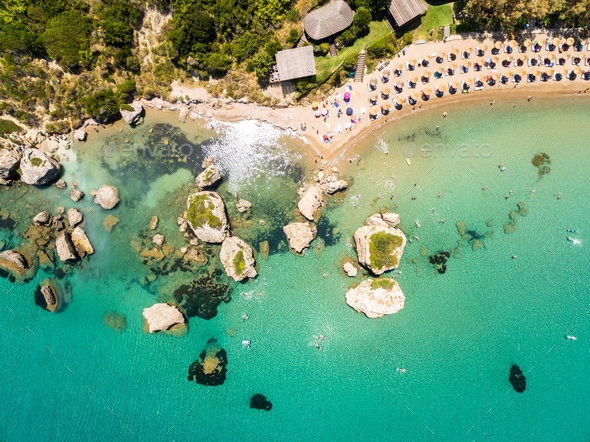 Aerial  view of Porto Zorro  Azzurro beach in Zakynthos (Zante) - Stock Photo - Images
