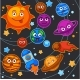 Cartoon Planets Solar System Space Universe Vector