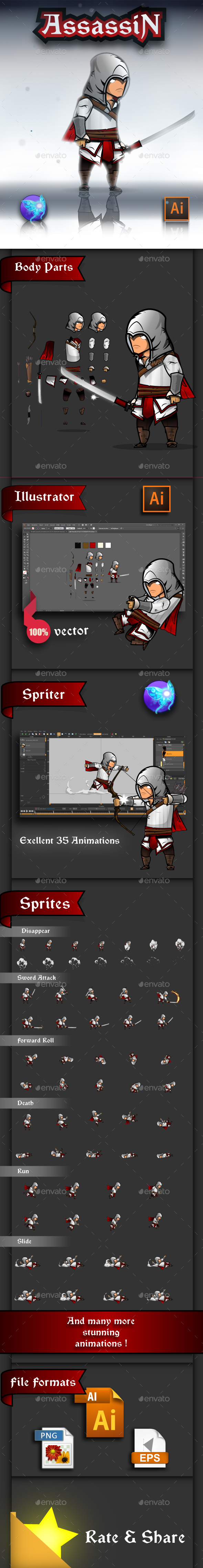 GraphicRiver The Light Assassin Game Character Sprites 20570479