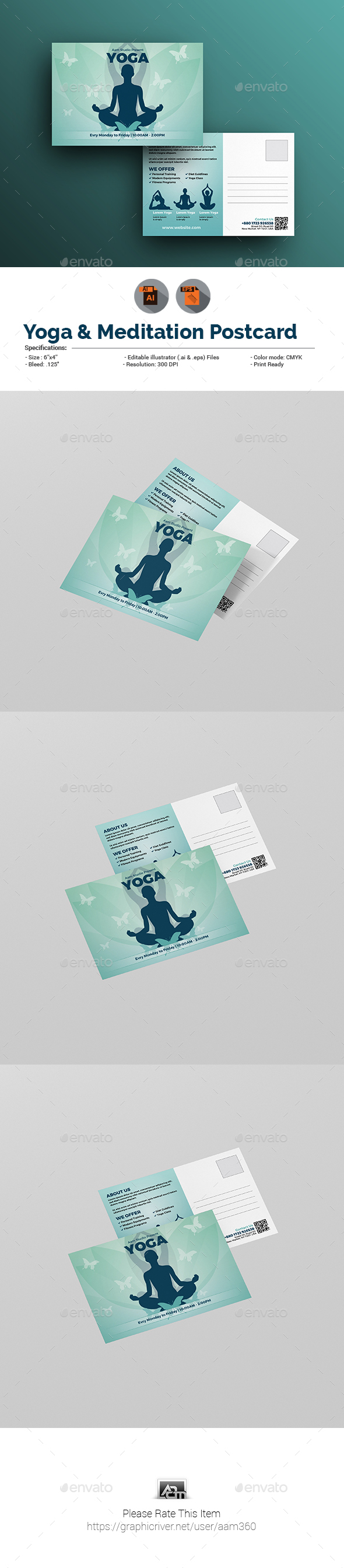 Fitness & Yoga Postcard Template - Cards & Invites Print Templates