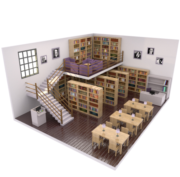 Low Poly Library - 3DOcean Item for Sale