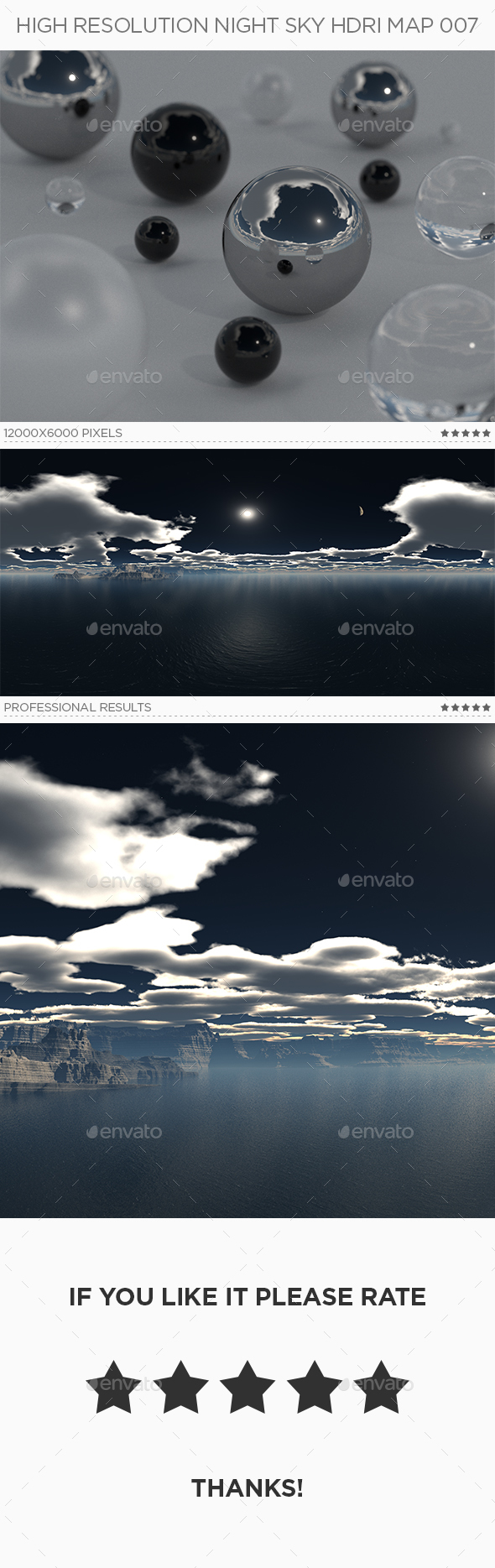 High Resolution Night Sky HDRi Map 007 - 3DOcean Item for Sale