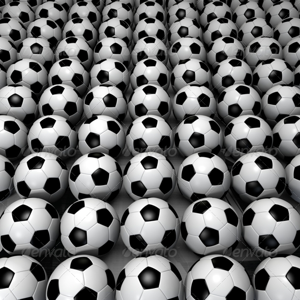 Field of Soccer Ball - 3D Backgrounds