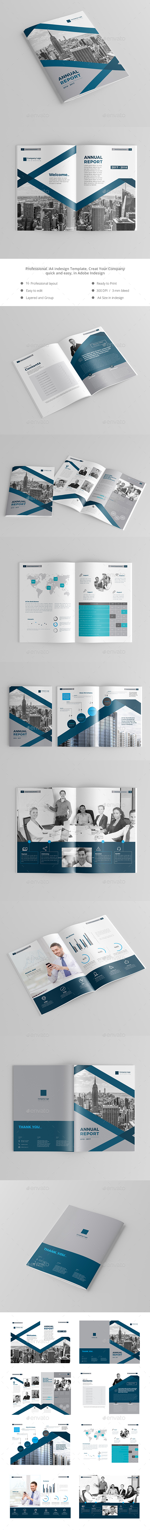 Annual Report Company A4 - Brochures Print Templates