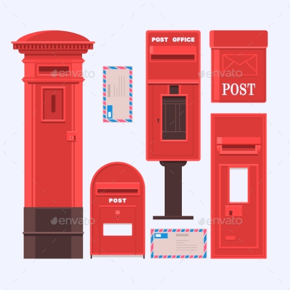 Vector Illustration of Mail Boxes Set - Miscellaneous Vectors