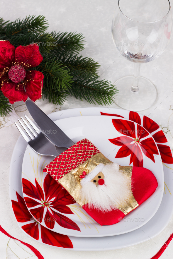 Christmas table setting - Stock Photo - Images