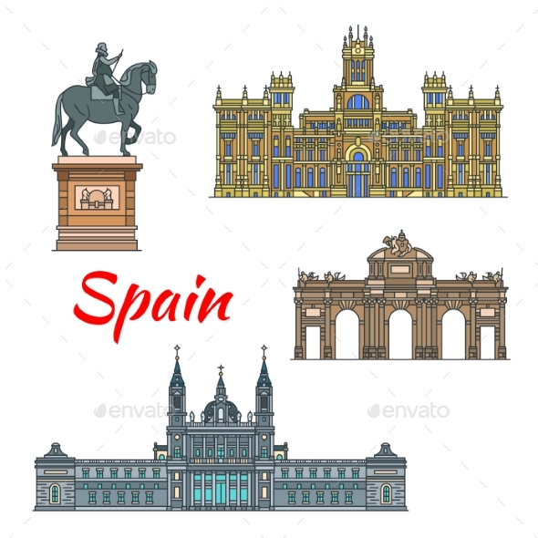 GraphicRiver Spanish Travel Landmark of Madrid Linear Icon Set 20571627