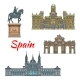 Spanish Travel Landmark of Madrid Linear Icon Set