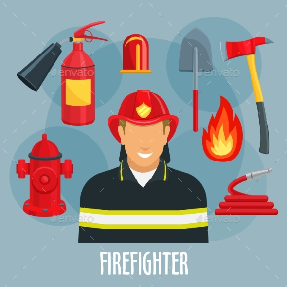 Firefighter Profession Icon of Fireman in Uniform - People Characters