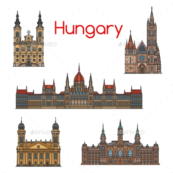 GraphicRiver Hungarian Travel Landmark Thin Line Icon Set 20571630