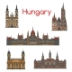 Hungarian Travel Landmark Thin Line Icon Set