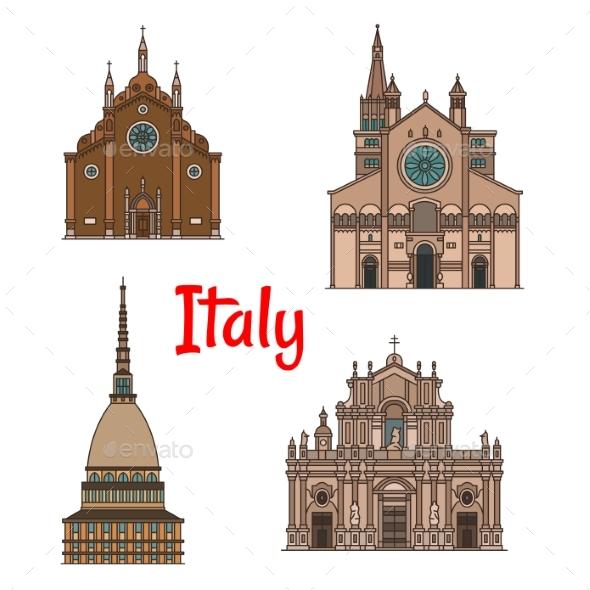 Italian Travel Landmark Building Icon Set - Travel Conceptual