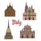 Italian Travel Landmark Building Icon Set