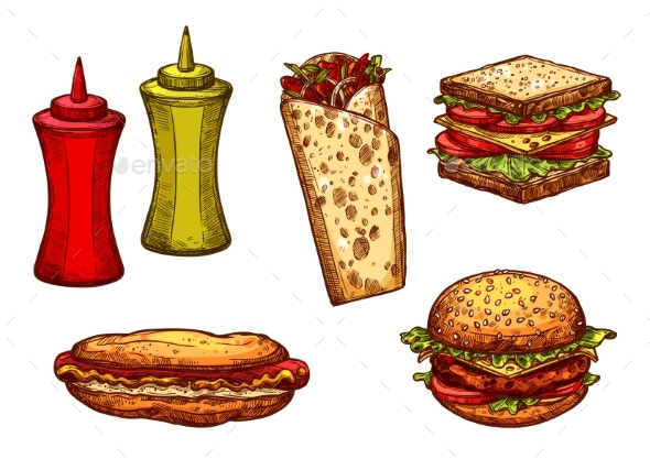 Fast Food Burger and Sandwich Sketch Set - Food Objects