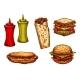 Fast Food Burger and Sandwich Sketch Set - GraphicRiver Item for Sale